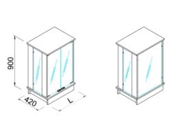 Gablota ze szklaną ekspozycją, niska, z zamkiem