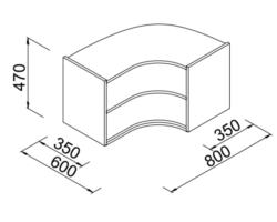 Nadstawka regału narożnego do sklepu 60x80x35x47cm