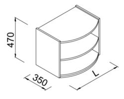 Nadstawka regału wypukłego 60x35x47cm