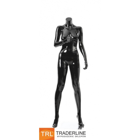 Manekin damski, stojący bez głowy, czarny połysk