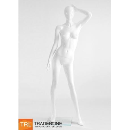 Manekin wystawowy damski abstrakcyjny biały połysk