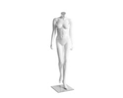 Manekin stojący damski, bez głowy, biały połysk