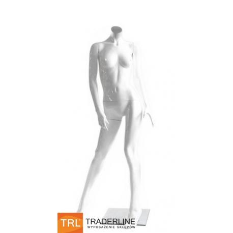 Manekin sklepowy damski, bez głowy, biały połysk