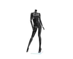 Manekin wystawowy damski, bez głowy, czarny połysk