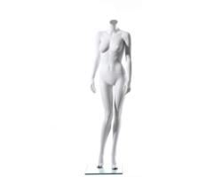 Manekin wystawowy damski, bez głowy, biały mat