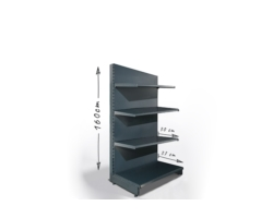 Regał sklepowy H160cm, półki 1x37cm, 3x30cm