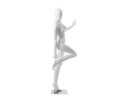 Manekin sklepowy damski, stojący, biały połysk