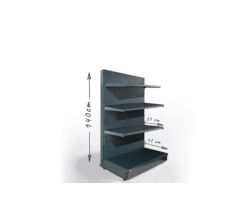 Regał sklepowy H140cm, półki 1x47cm, 3x37cm