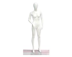 Manekin damski wystawowy do sklepu, biały połysk