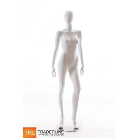 Manekin wystawowy damski, stojący, biały połysk