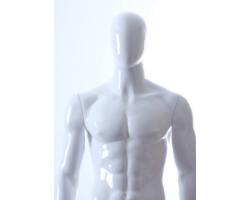 Manekin wystawowy abstrakcyjny męski, biały połysk