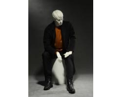 Manekin męski, siedzący, biały mat