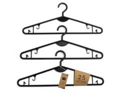 Wieszak odzieżowy cienki lekki 40cm czarny 25sztuk